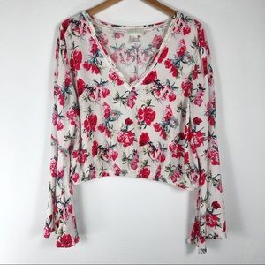 Forever 21 Bell Sleeve Cropped Long Sleeve